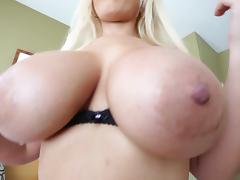 Big tits blonde Bridgette B gets cumshot on face after blowjob and titjob tube porn video
