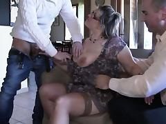 French mature Julia gangbanged in stockings tube porn video