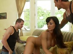 Lisa Ann gets fucked by two horny studs in MMF threesome clip tube porn video