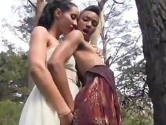 Interracial Lesbians Fuck In The Forest tube porn video
