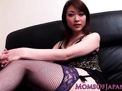 Japanese mom Akari Hoshino in stockings pov titjob tube porn video