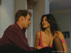 Cougar with fake tits in stockings yelling as her pussy is pounded hardcore missionary tube porn video