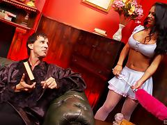 Tattooed brunette cougar in a miniskirt and fishnet stockings getting throbbed hardcore tube porn video