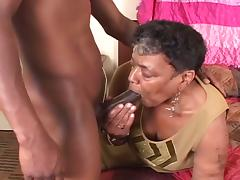 Black granny likes the young cock tube porn video
