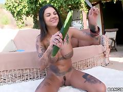 Tattooed brunette babe with big tits gives a blowjob outdoors after drilling her asshole with toys tube porn video