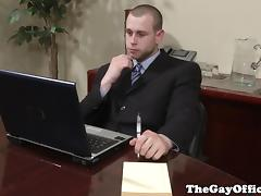 Gay office studs fucking in the board room tube porn video