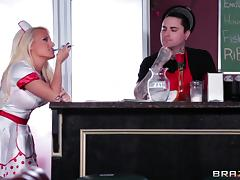 Sensuous blonde maid in uniform getting hammered hardcore tube porn video