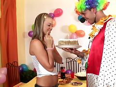 A horny clown fucks a hot chick during a wild party tube porn video