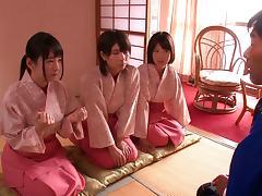 Buxom Japanese pornstars enjoying a spicy groupsex shoot tube porn video