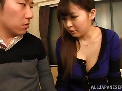 A chubby Japanese girl grinds on a guy's cock and cums tube porn video