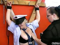 Horny old granny police officer gets tube porn video