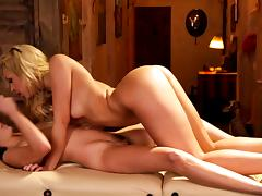 Shyla Jennings and Carmen Caliente dike out on the massage table tube porn video