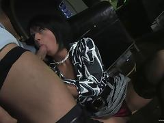 Cassy gives a blowjob and gets her shaved pussy fucked hard tube porn video