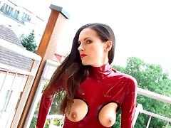 Masturb in Red Latex Catsuit tube porn video