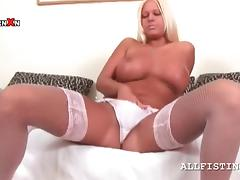 Sex bomb blonde rubs big tits and lusty cunt tube porn video