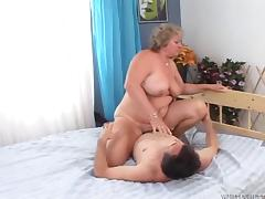 Voluptuous granny is wicked skilled at riding his hard dick tube porn video