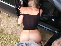 slutty hitchhiker gives in to horny driver tube porn video