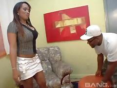 Big tits Latina sucks and fucks barebacked with an ebony cock tube porn video