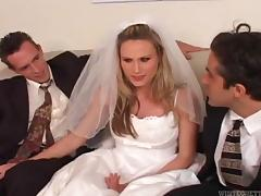 Beautiful bride cuckolds her loser husband on their wedding day tube porn video