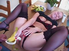 Hardcore anal doggy style sex with cute blonde wearing stockings tube porn video