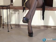 A girl in nylons shows off her crazy painted toes and feet tube porn video
