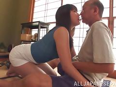 An old man gets to dip his dick into a hot Asian piece of ass tube porn video