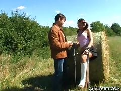 Farm boy and a cute girl fuck passionately in a field of hay tube porn video