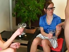 German golden-haired drinks champagne with her ally when her? tube porn video