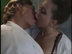 Lecherous nurse in uniform and nylon stockings giving superb blowjob before getting throbbed doggystyle tube porn video