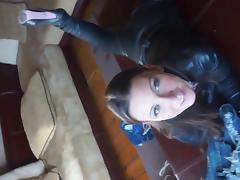 julie skyhigh fitting her leather catsuit & thigh high boots tube porn video