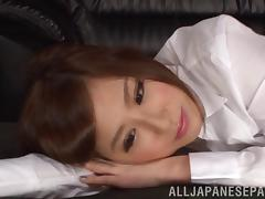 Japanese lesbians in blouses relax after work with hot sex tube porn video