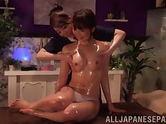 Horny Japanese lesbian MILFs in an erotic massage session in POV tube porn video