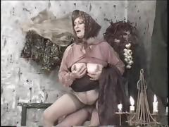 Grandma with a plump belly and sexy stockings has hot sex tube porn video
