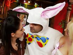 Dude in a bunny costume gets lucky and fucks two hot sluts tube porn video