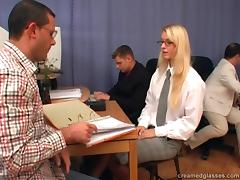 Three cocks completely ravish blonde office babe with glasses tube porn video