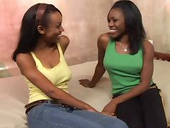 Ebony-skinned lesbian slut with great juggs getting her pussy licked tube porn video