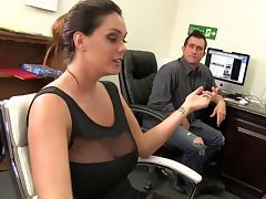 Alison Tyler relieves his stress at work with an office handjob tube porn video
