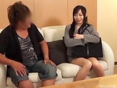 Asian brunette slips her thong aside paving way for the hard dong to friction her walls tube porn video