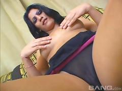Dark haired solo woman using a see through dildo on her wet cunt tube porn video