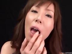 Charming Japanese sex doll deepthroats a boner in pov then swallows cum tube porn video