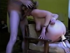 Handcuffed amateur mature toyed, fucked and facialized tube porn video