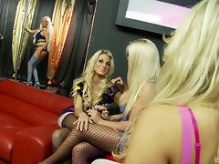 Blonde bimbos in skintight dresses have group sex at the strip club tube porn video