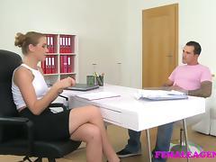 FemaleAgent British studs fat long cock fucks sexy agent tube porn video