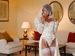 Breathtaking bride dressed in white strips and teases her tits tube porn video
