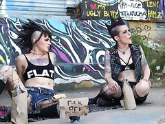 Hot punk with a mohawk fucked in torn up stockings tube porn video