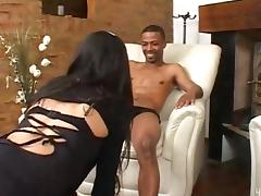 Black guy drills latina shemale and cums on her tits tube porn video