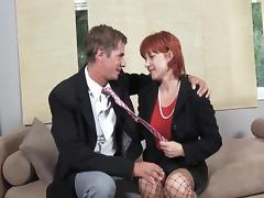 Saggy titted mature redhead. tube porn video