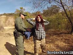 Border patrol officer fucks a sexy redheaded immigrant tube porn video