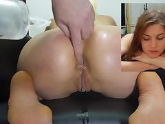 Miss April's kneeling enema injection tube porn video