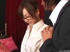 Naughty Asian businesswoman gives the pussy to her boss tube porn video